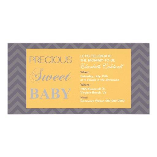 Precious Chevron Baby Shower Invite-honey Personalized Photo Card