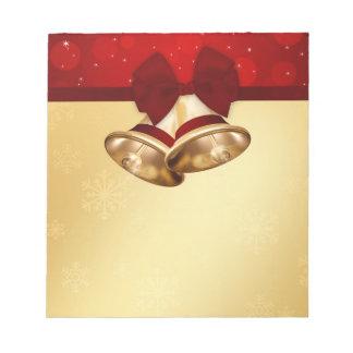 Precious Golden Christmas Bells - Notepad