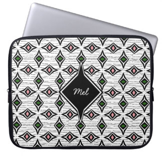Precious jewels green pink diamond shaped design laptop sleeve