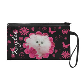 Precious Kittens Cats Pink Flowers Wristlet