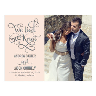 Precious Knot Wedding Announcement - Light Peach Postcard