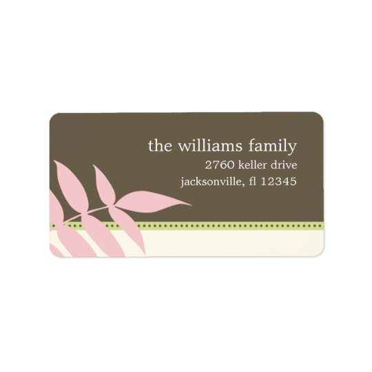 Precious Leaves Address Label - Pink