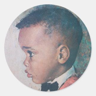 Precious Little Black Boy Vintage Classic Round Sticker