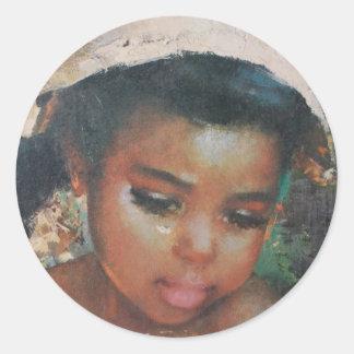 Precious Little Black Girl Vintage Classic Round Sticker