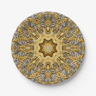 Precious Metal Kaleidoscope Paper Plates 7 Inch Paper Plate