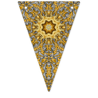 Precious Metal Vintage Kaleidoscope  Bunting Flags