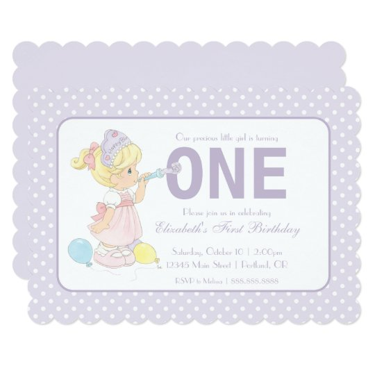 Precious Moments | First Birthday Balloons - Girl Card