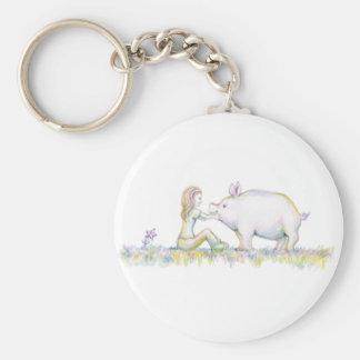 Precious Pig Basic Round Button Keychain