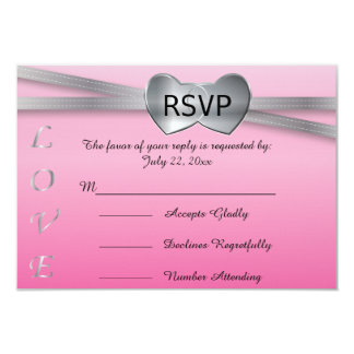 "Precious Pink and Silver Wedding Love Hearts 3.5"" X 5"" Invitation Card"
