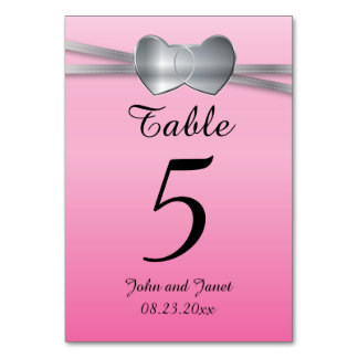 Precious Pink and Silver Wedding Love Hearts Card