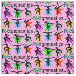 PRECIOUS PINK I LOVE GYMNASTICS FABRIC