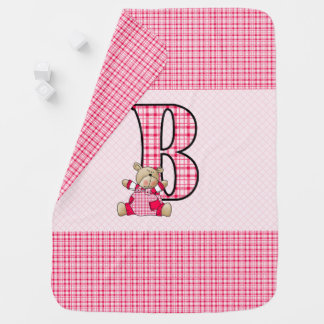 Precious Pink Plaid Bear with Letter B for Baby Baby Blanket