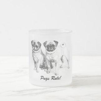 Precious Pugs Black and White Illustration Mugs