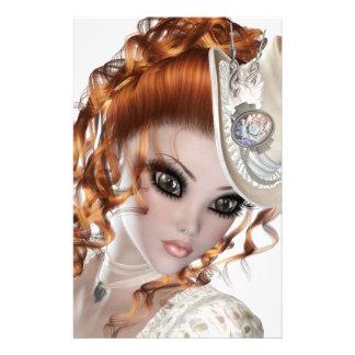 Precious Red Head Woman Customized Stationery