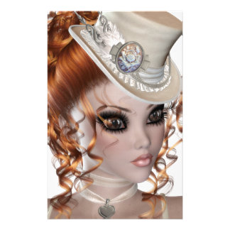 Precious Red Head Woman Stationery Design