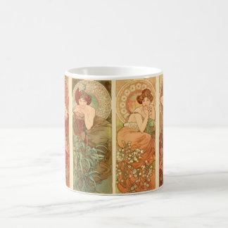 Precious Stones and Flowers, Alphonse Mucha 1900 Coffee Mug