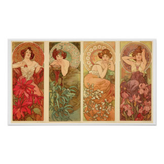 Precious Stones and Flowers, Alphonse Mucha 1900 Poster