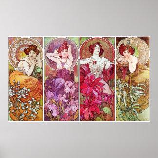 Precious Stones and Flowers, Alphonse Mucha Poster