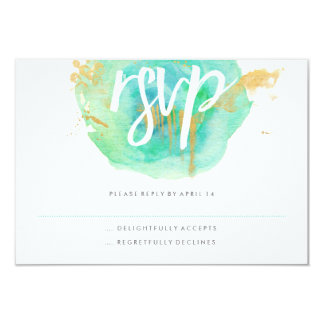 """Precious Watercolor RSVP card 3.5"""" X 5"""" Invitation Card"""