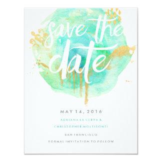 """Precious Watercolor Save the Date Blue 4.25"""" X 5.5"""" Invitation Card"""