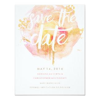 """Precious Watercolor Save the Date Blush 4.25"""" X 5.5"""" Invitation Card"""