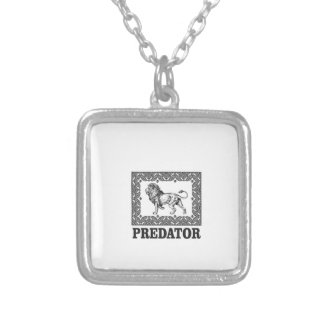 Predator the lion silver plated necklace