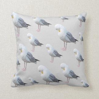 Preening Gull Pattern on Gray. Throw Pillow