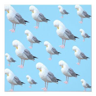 Preening Gull Pattern, Sketched Style on Blue. Card