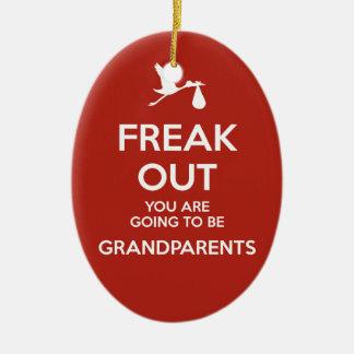 Pregnancy Announcement Grandparents Christmas Ceramic Oval Ornament