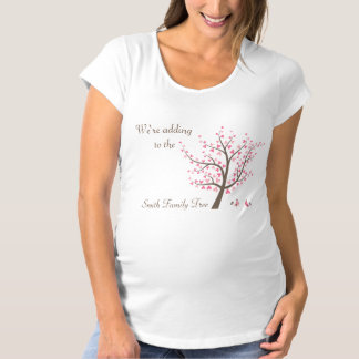 Pregnancy Reveal Adding Pink to The Family Tree Maternity T-Shirt