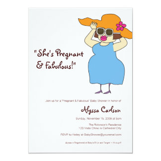 """Pregnant  and Fabulous Baby Shower 5"""" X 7"""" Invitation Card"""