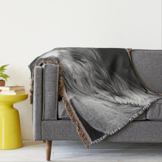 Pregnant Dartmoor Pony Mare portrait Throw Blanket