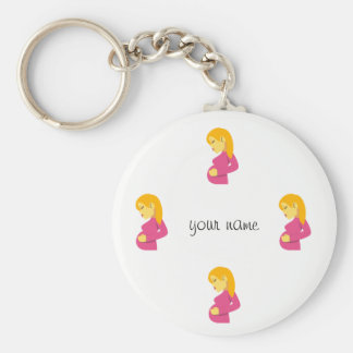 """Pregnant Emoji Mom  and '' Your Name Here """" Keychain"""