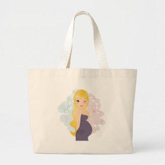 Pregnant girl or boy jumbo tote bag