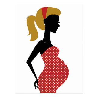 Pregnant lady in red with Folk dots Postcard