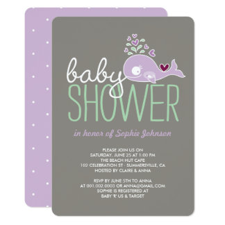 Pregnant Lilac Mommy Whale Girl Baby Shower Invite