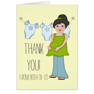 Pregnant Mom Boy Baby Shower Thank You Card