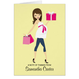 Pregnant Mommy-to-be Baby Shower Thank You Cards