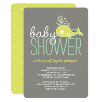 Pregnant Mommy Whale Girl Boy Baby Shower Invite