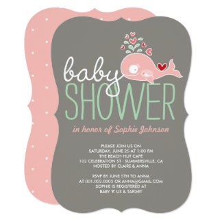 Pregnant Pink Mommy Whale Girl Baby Shower Invite