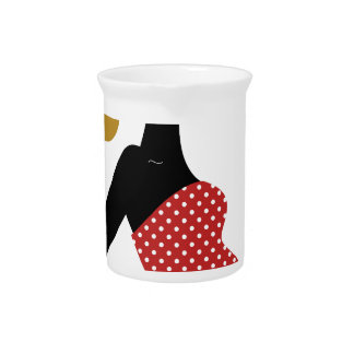 PREGNANT VINTAGE MOTHER / GIRL RED WITH DOTS PITCHER