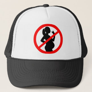 Pregnant Woman Alcohol Symbol Trucker Hat