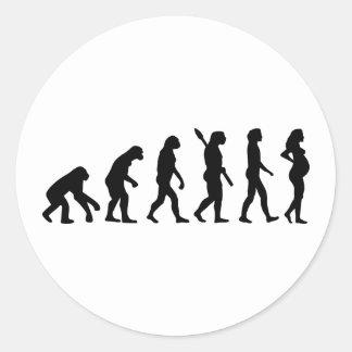Pregnant woman evolution classic round sticker