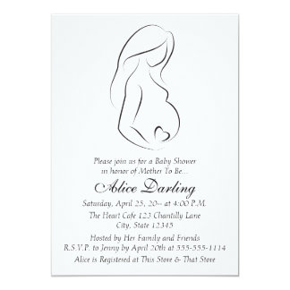 "Pregnant Woman profile Heart Baby Shower 5"" X 7"" Invitation Card"