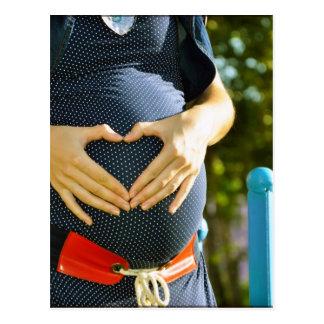 Pregnant woman tummy postcard