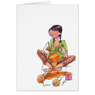 Pregnant Women Sewing Notecard