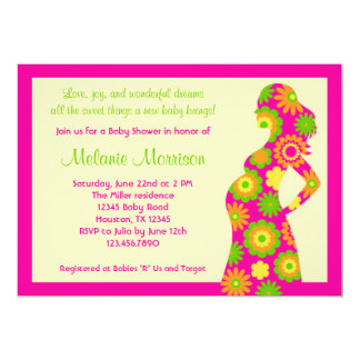Pregnat Silhouette Girl Baby Shower Invitation