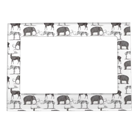 Prehistoric Animals - Woolly Mammoth and Megaceros Frame Magnet