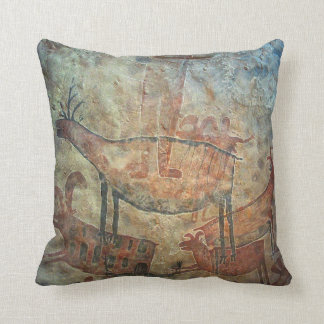 Prehistoric cave painting throw pillow