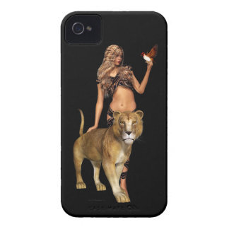 Prehistoric Fantasy Girl and Lion iPhone 4 Case
